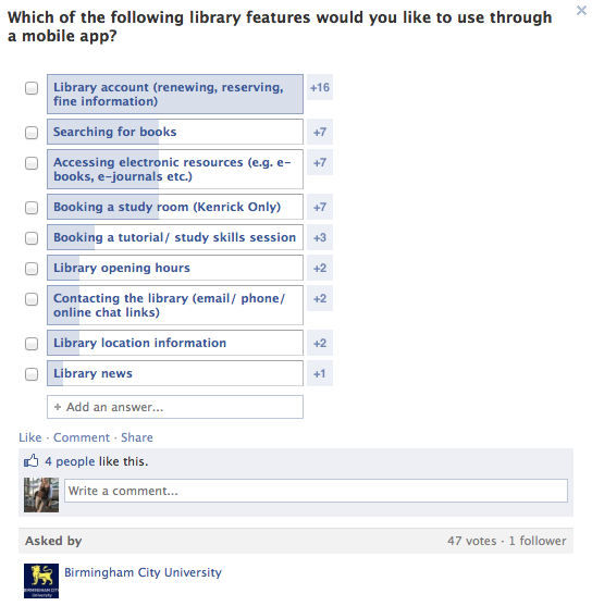 Facebook poll for BCU users