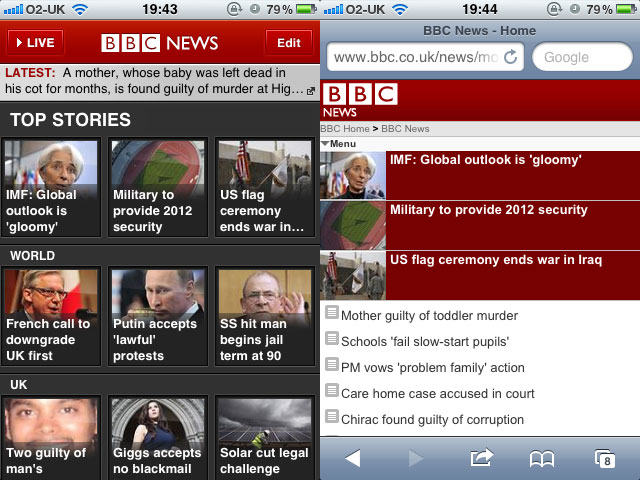 BBC News - mobile app (left) and mobile web (right)