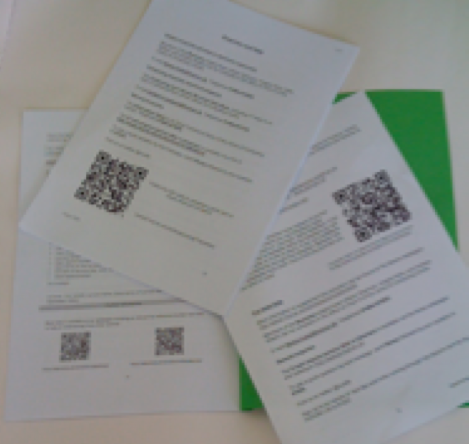 QR codes on handouts at University of Huddersfield