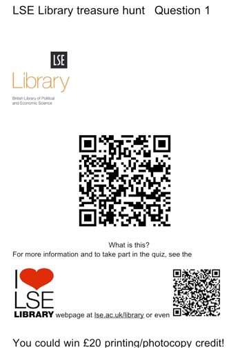 LSE Library QR code treasure hunt
